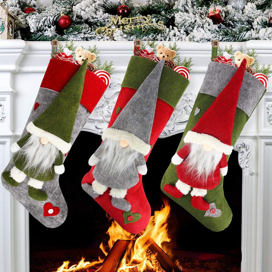 Aiduy 3-Pack Plush Swedish Gnome Christmas Stocking