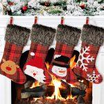 Aitbay 4-Pack Plush Plaid Style Christmas Stocking