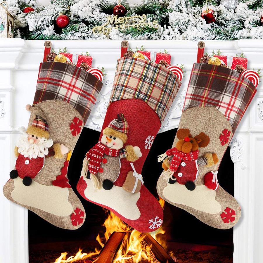 Aitey 3-Pack 3D Plush Character Christmas Stocking