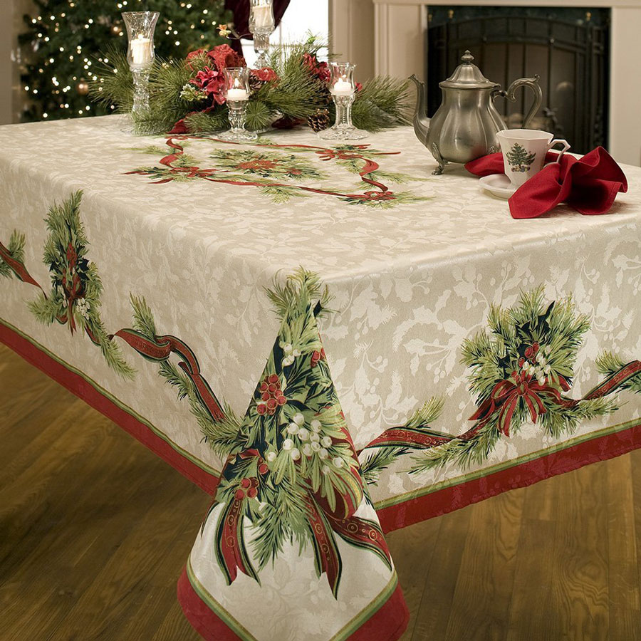 Benson Mills Christmas Ribbons Printed Fabric Tablecloth