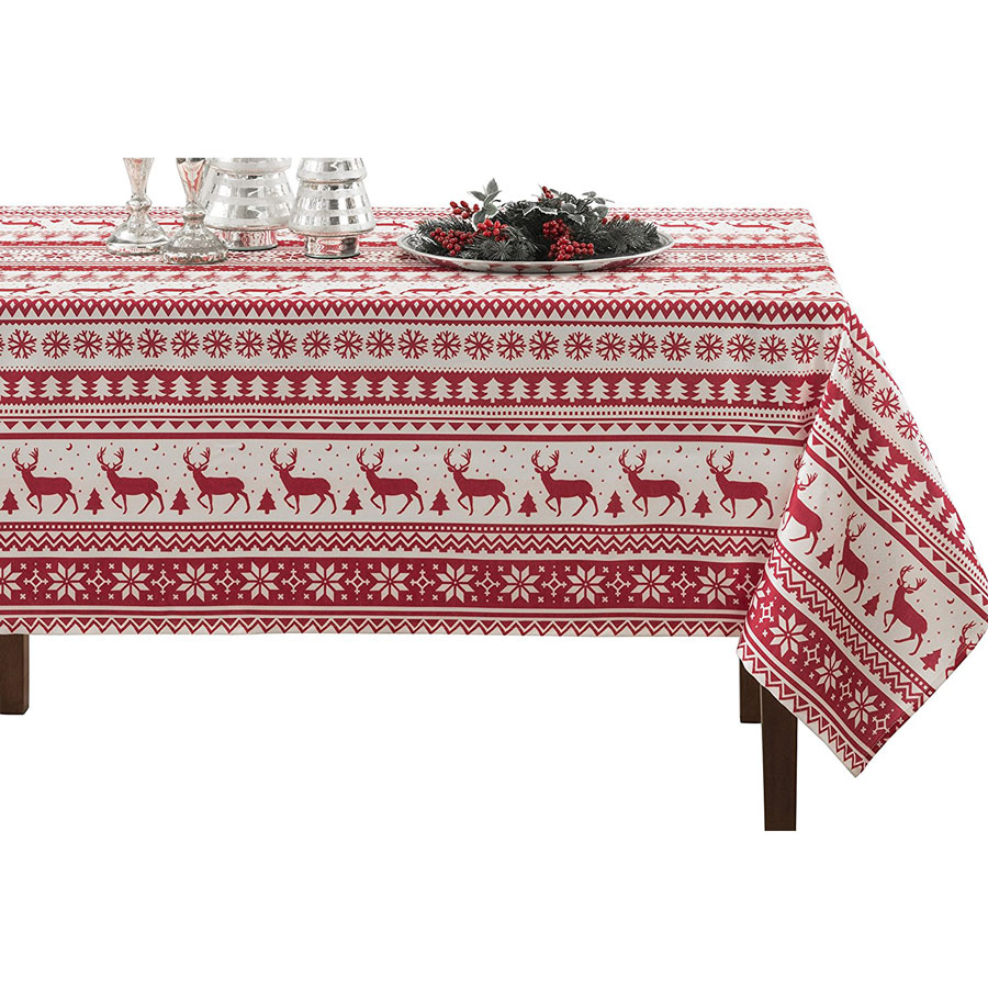 Benson Mills Nordic Christmas Herringbone Printed Tablecloth