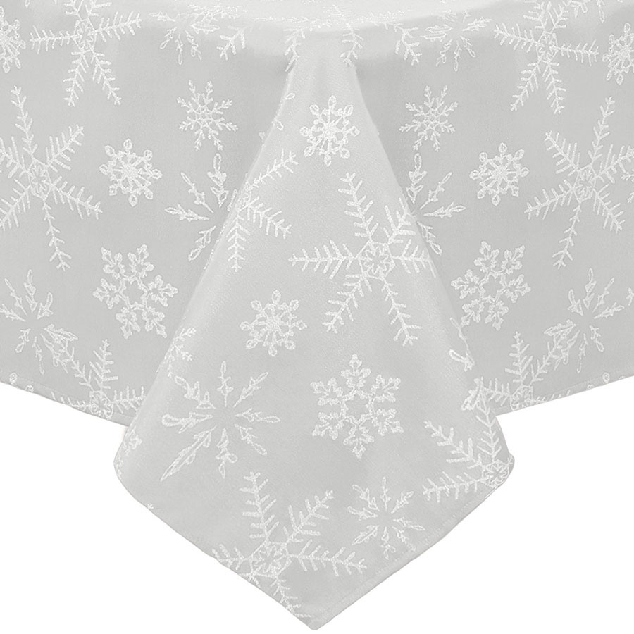 Benson Mills Twinkle Snowflake Metallic Christmas Tablecloth