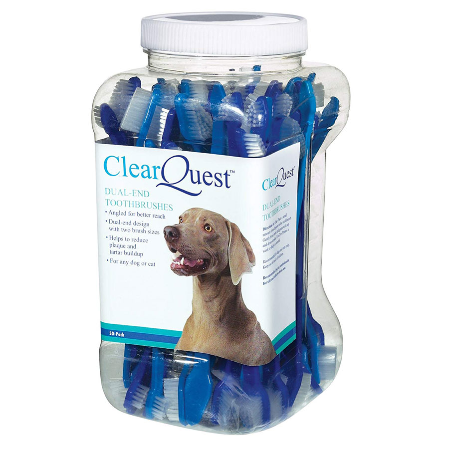 ClearQuest Dual-End 9-Inch Dog Toothbrush