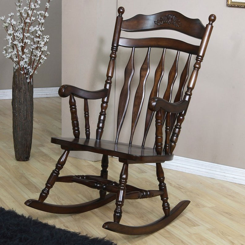 Coaster Carved Detail Walnut Finish Rocking Chair
