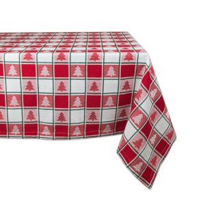 DII Red & White Check Machine Washable Christmas Tablecloth
