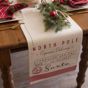 DII Santa's Workshop Reversible Cotton Christmas Table Runner