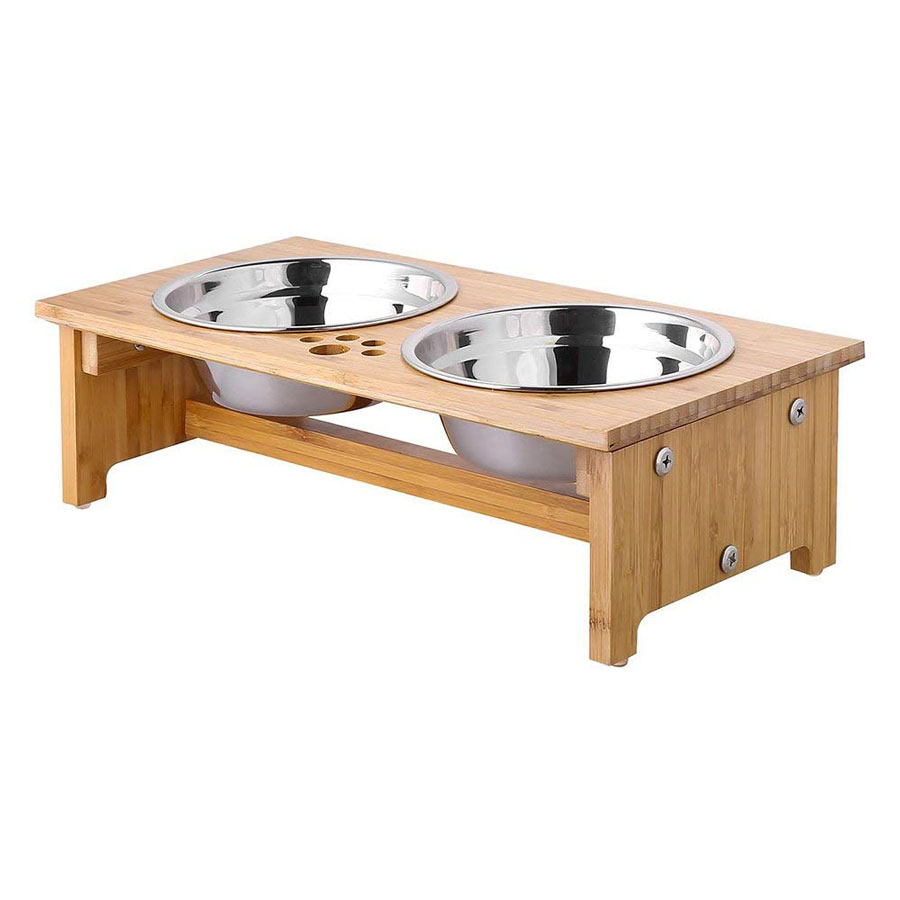 Foreyy Bamboo Raised Stainless Steel Dog Bowl