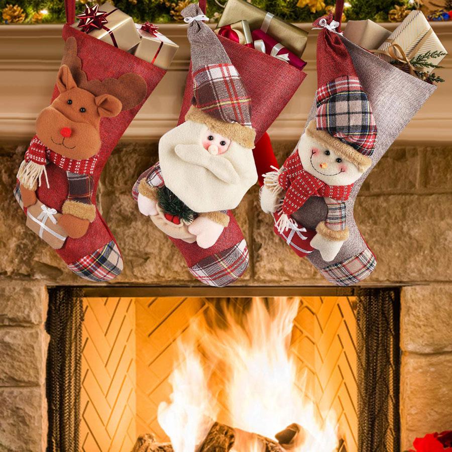 Fylina 3-Pack Plush Santa Snowman Reindeer Christmas Stocking