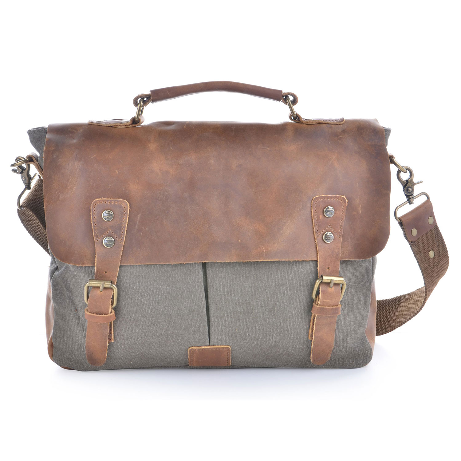 Gootium 21108 Cotton Canvas Leather Messenger Bag