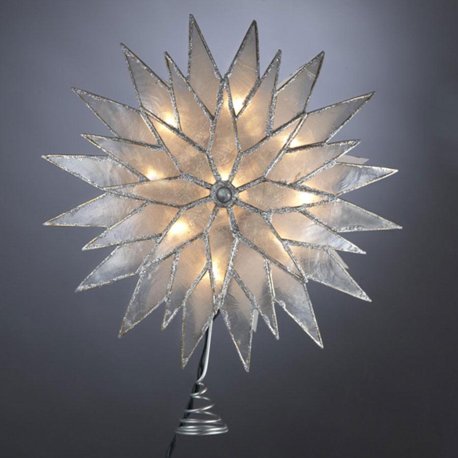 Kurt Adler Capiz Silver Sunburst Star Christmas Tree Topper
