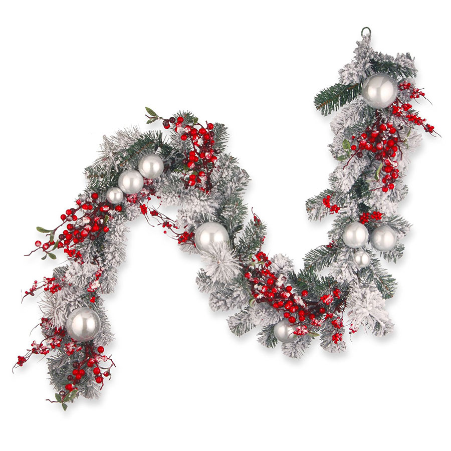 National Tree Red & White Ornaments Christmas Garland