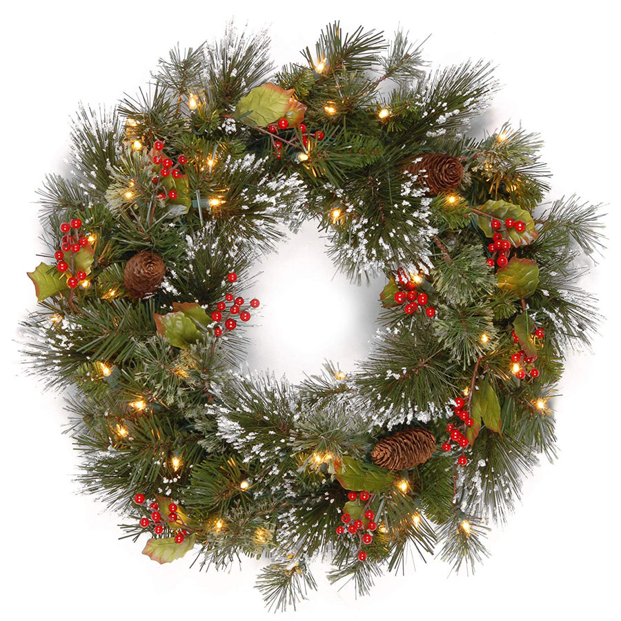 National Tree Wintry Pine Red Berries Christmas Wreath