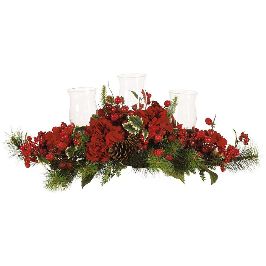Nearly Natural Hydrangea Candleabrum Christmas Table Centerpiece