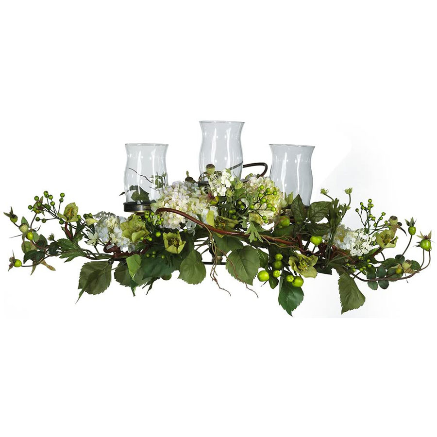 Nearly Natural Hydrangea Triple Candelabrum Christmas Table Centerpiece