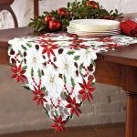 OurWarm Poinsettia Holly Leaf Embroidered Christmas Table Runner