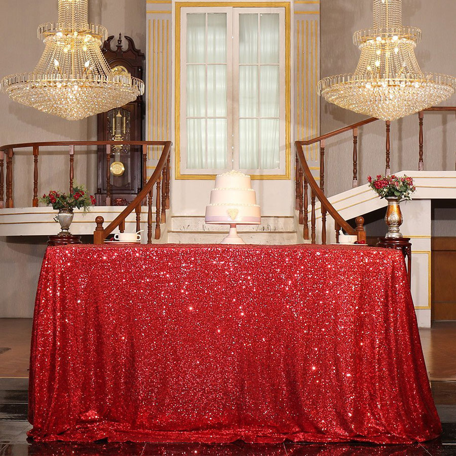 PartyDelight Dark Red Sequin Sparkly Christmas Tablecloth