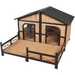 PawHut Wooden Cabin Style Elevated Dog House