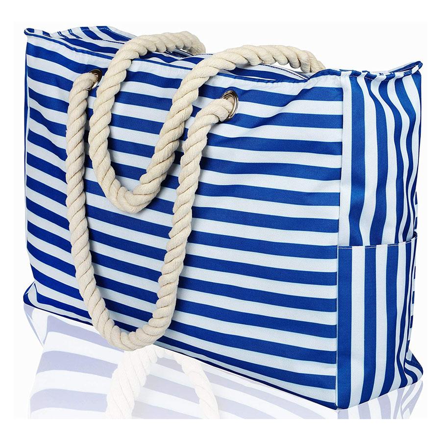 Premium XL Cotton Rope Stripe Beach Bag