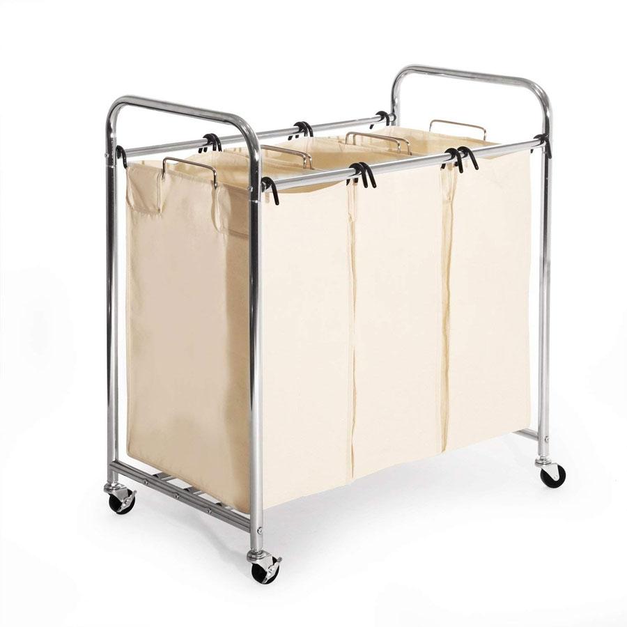 Seville Classics Mobile 3-Bag Heavy-Duty Laundry Basket
