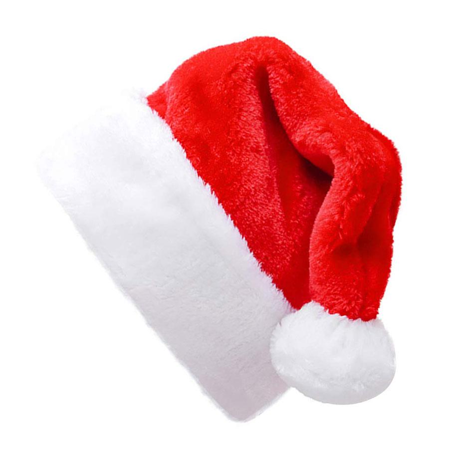 Shareconn Short Plush Adult Santa Hat