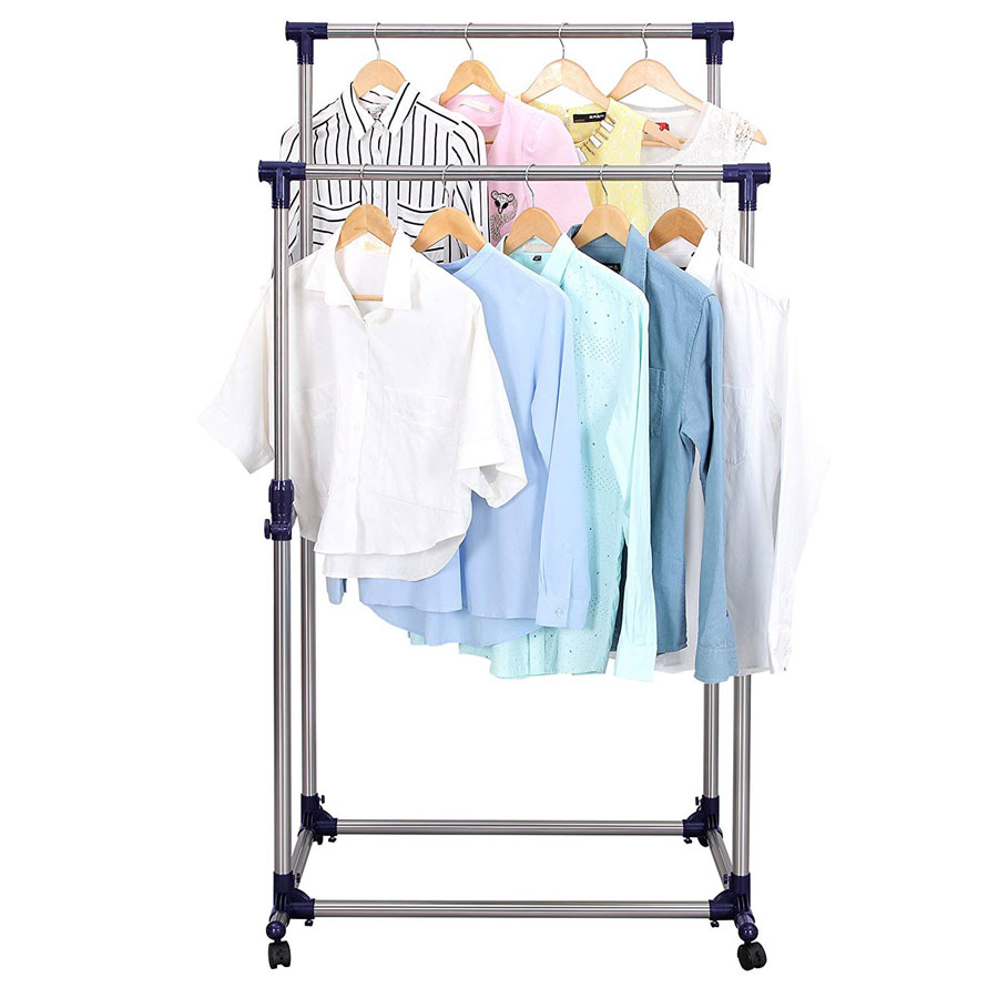 Songmics Double Adjustable Rolling Clothes Rack