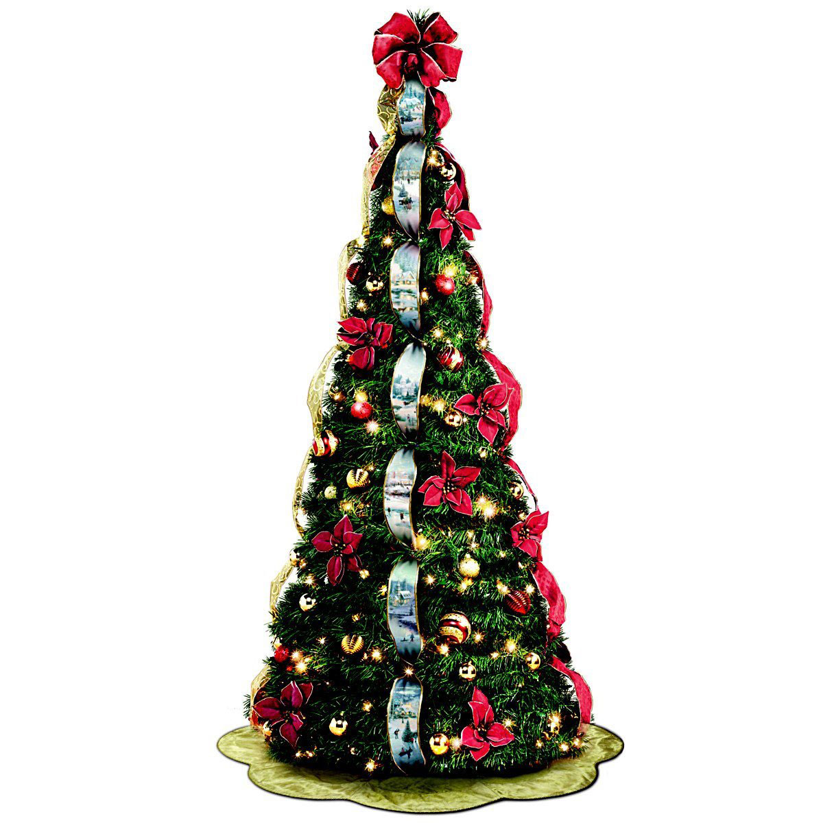 Thomas Kinkade 6′ Pre-Lit Pull-Up Winter Xmas Tree