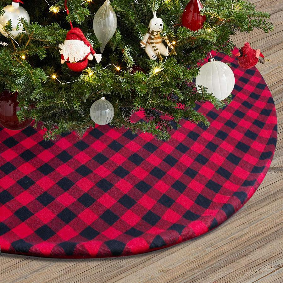 Townshine Double Layer Plaid Christmas Tree Skirt