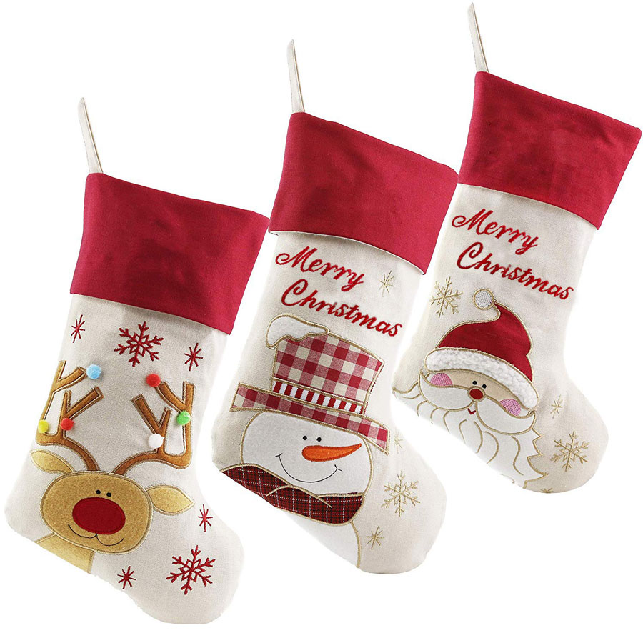 Wewill 3-Pack Lovely Plush Character Christmas Stocking