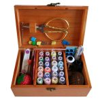 Wooden Box 24 Spools Sewing Kit