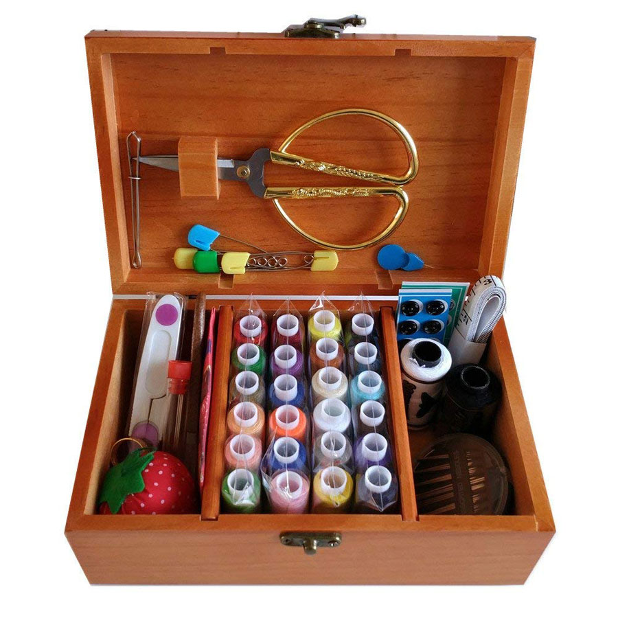 Wooden Box 24 Spools Sewing Kit